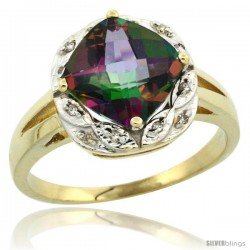 10k Yellow Gold Diamond Halo Mystic Topaz Ring 2.7 ct Checkerboard Cut Cushion Shape 8 mm, 1/2 in wide