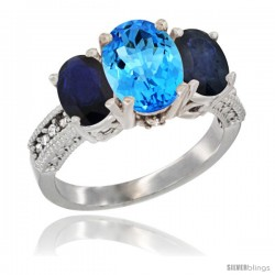 14K White Gold Ladies 3-Stone Oval Natural Swiss Blue Topaz Ring with Blue Sapphire Sides Diamond Accent