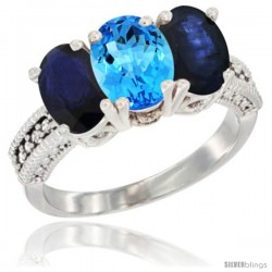 14K White Gold Natural Swiss Blue Topaz & Blue Sapphire Sides Ring 3-Stone 7x5 mm Oval Diamond Accent