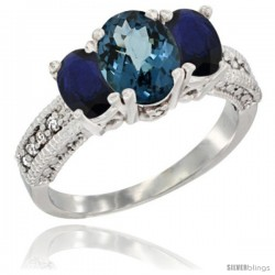 14k White Gold Ladies Oval Natural London Blue Topaz 3-Stone Ring with Blue Sapphire Sides Diamond Accent