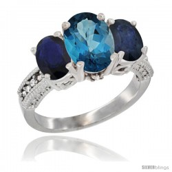 14K White Gold Ladies 3-Stone Oval Natural London Blue Topaz Ring with Blue Sapphire Sides Diamond Accent