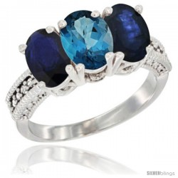 14K White Gold Natural London Blue Topaz & Blue Sapphire Sides Ring 3-Stone 7x5 mm Oval Diamond Accent