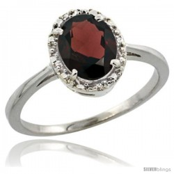 14k White Gold Diamond Halo Garnet Ring 1.2 ct Oval Stone 8x6 mm, 1/2 in wide