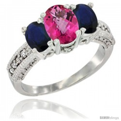 14k White Gold Ladies Oval Natural Pink Topaz 3-Stone Ring with Blue Sapphire Sides Diamond Accent