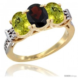 10K Yellow Gold Natural Garnet & Lemon Quartz Sides Ring 3-Stone Oval 7x5 mm Diamond Accent