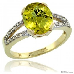 10k Yellow Gold and Diamond Halo Lemon Quartz Ring 2.4 carat Oval shape 10X8 mm, 3/8 in (10mm) wide