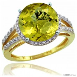 10k Yellow Gold Diamond Lemon Quartz Ring 5.25 ct Round Shape 11 mm, 1/2 in wide
