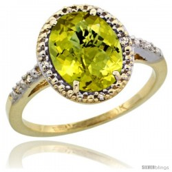 10k Yellow Gold Diamond Lemon QuartzRing 2.4 ct Oval Stone 10x8 mm, 1/2 in wide