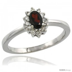 14k White Gold Diamond Halo Garnet Ring 0.25 ct Oval Stone 5x3 mm, 5/16 in wide