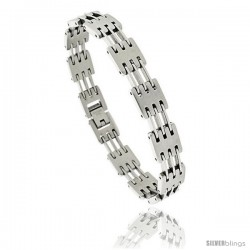 Gent's Stainless Steel Bar Bracelet, 3/8 in wide, 8 in long