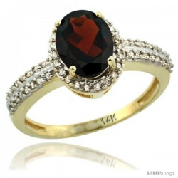 14k Yellow Gold Diamond Halo Garnet Ring 1.2 ct Oval Stone 8x6 mm, 3/8 in wide