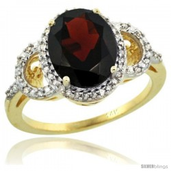 14k Yellow Gold Diamond Halo Garnet Ring 2.4 ct Oval Stone 10x8 mm, 1/2 in wide