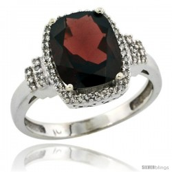 14k White Gold Diamond Halo Garnet Ring 2.4 ct Cushion Cut 9x7 mm, 1/2 in wide