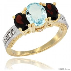 14k Yellow Gold Ladies Oval Natural Aquamarine 3-Stone Ring with Garnet Sides Diamond Accent