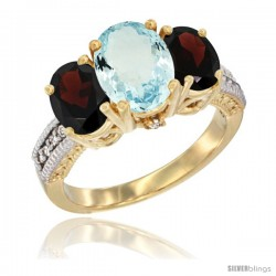 14K Yellow Gold Ladies 3-Stone Oval Natural Aquamarine Ring with Garnet Sides Diamond Accent
