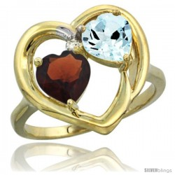 14k Yellow Gold 2-Stone Heart Ring 6mm Natural Garnet & Aquamarine Diamond Accent