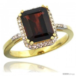 14k Yellow Gold Diamond Garnet Ring 2.53 ct Emerald Shape 9x7 mm, 1/2 in wide