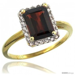 14k Yellow Gold Diamond Garnet Ring 1.6 ct Emerald Shape 8x6 mm, 1/2 in wide