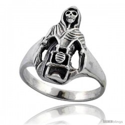 Sterling Silver Grim Reaper on Motorcycle Gothic Biker Ring 3/4 in wide