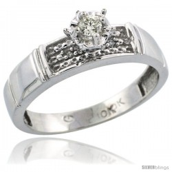 10k White Gold Diamond Engagement Ring, 3/16 in wide -Style Ljw107er