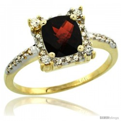 14k Yellow Gold Diamond Halo Garnet Ring 1.2 ct Checkerboard Cut Cushion 6 mm, 11/32 in wide