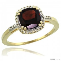 14k Yellow Gold Diamond Garnet Ring 1.5 ct Checkerboard Cut Cushion Shape 7 mm, 3/8 in wide