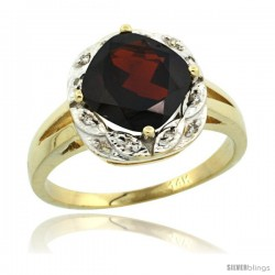 14k Yellow Gold Diamond Halo Garnet Ring 2.7 ct Checkerboard Cut Cushion Shape 8 mm, 1/2 in wide