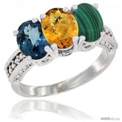 14K White Gold Natural London Blue Topaz, Whisky Quartz & Malachite Ring 3-Stone 7x5 mm Oval Diamond Accent