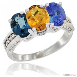 14K White Gold Natural London Blue Topaz, Whisky Quartz & Tanzanite Ring 3-Stone 7x5 mm Oval Diamond Accent