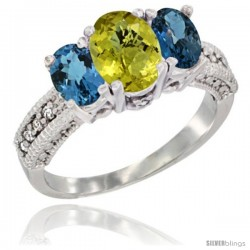 14k White Gold Ladies Oval Natural Lemon Quartz 3-Stone Ring with London Blue Topaz Sides Diamond Accent