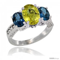 14K White Gold Ladies 3-Stone Oval Natural Lemon Quartz Ring with London Blue Topaz Sides Diamond Accent