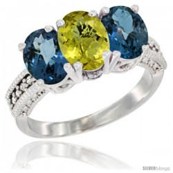 14K White Gold Natural Lemon Quartz & London Blue Topaz Sides Ring 3-Stone 7x5 mm Oval Diamond Accent