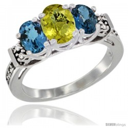 14K White Gold Natural Lemon Quartz & London Blue Ring 3-Stone Oval with Diamond Accent