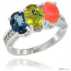 14K White Gold Natural London Blue Topaz, Lemon Quartz & Coral Ring 3-Stone 7x5 mm Oval Diamond Accent