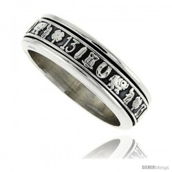 Sterling Silver Men's Spinner Ring Good Luck Charms Designs Handmade 5/16 wide