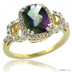 10k Yellow Gold Diamond Mystic Topaz Ring 2 ct Checkerboard Cut Cushion Shape 9x7 mm, 1/2 in wide