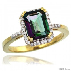 10k Yellow Gold Diamond Mystic Topaz Ring 1.6 ct Emerald Shape 8x6 mm, 1/2 in wide -Style Cy908129
