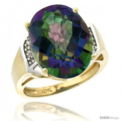 10k Yellow Gold Diamond Mystic Topaz Ring 9.7 ct Large Oval Stone 16x12 mm, 5/8 in wide