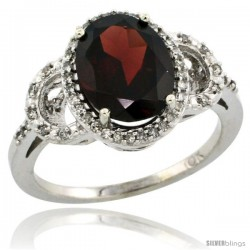 14k White Gold Diamond Halo Garnet Ring 2.4 ct Oval Stone 10x8 mm, 1/2 in wide