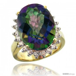 10k Yellow Gold Diamond Halo Mystic Topaz Ring 10 ct Large Oval Stone 18x13 mm, 7/8 in wide