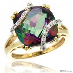 10k Yellow Gold Diamond Mystic Topaz Ring 7.5 ct Cushion Cut 12 mm Stone, 1/2 in wide