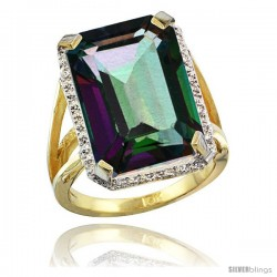 10k Yellow Gold Diamond Mystic Topaz Ring 14.96 ct Emerald shape 18x13 Stone 13/16 in wide