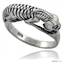 Sterling Silver Reptile Skeleton Gothic Biker Ring 1/4 in wide