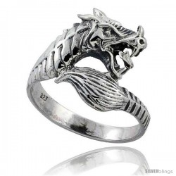Sterling Silver Dragon Ring 3/4 in wide