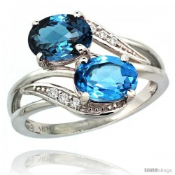 14k White Gold ( 8x6 mm ) Double Stone Engagement Swiss & London Blue Topaz Ring w/ 0.07 Carat Brilliant Cut Diamonds & 2.34