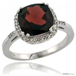 14k White Gold Diamond Garnet Ring 3.05 ct Cushion Cut 9x9 mm, 1/2 in wide