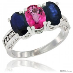 14K White Gold Natural Pink Topaz & Blue Sapphire Sides Ring 3-Stone 7x5 mm Oval Diamond Accent