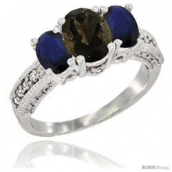 14k White Gold Ladies Oval Natural Smoky Topaz 3-Stone Ring with Blue Sapphire Sides Diamond Accent
