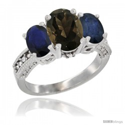 14K White Gold Ladies 3-Stone Oval Natural Smoky Topaz Ring with Blue Sapphire Sides Diamond Accent