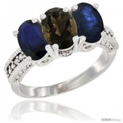 14K White Gold Natural Smoky Topaz & Blue Sapphire Sides Ring 3-Stone 7x5 mm Oval Diamond Accent